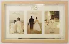 Wood Effect Triple Aperture Wedding Photo Frame Wall Hanging Multi Anniversary