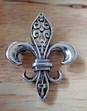 26x34mm Pretty Fleur de Lis Sterling Silver Pin Brooch