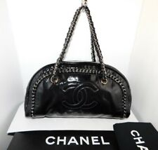 CHANEL LUXE LINGE Patent Leather Medium Bowler Shoulder Hand Bag Authentic B115