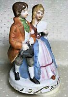 "Vintage Victorian Couple Music Box Porcelain Bisque Hand Painted 6.5""h x 4""w"