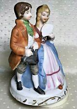 "Victorian Couple Music Box Porcelain Bisque Hand Painted 6.5""h x 4""w, Vintage"