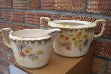 19thC Milk Jug & Sugar Bowl Chelsea Royal Pottery Hollinshead & Griffiths