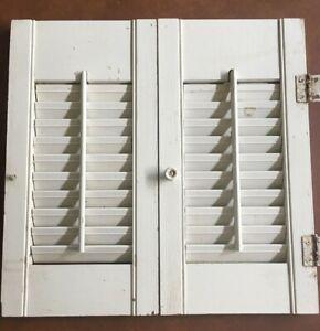 Small Vintage Wooden Shutter Louvered Bi-Fold window/bookcase/bath cabinet decor