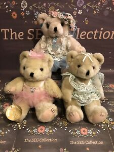 Bearly People Bears, Lot of 3, BALLERINAS, ROSES RIBBONS, JOINTED, Vintage
