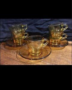 Vintage Amber Glass Demi Tasse Coffee Cups, Mint Condition, Bormioli Italian