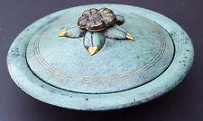 2PC PAL BELL Israel Dish Plate Bowl Lid Gold Flower w Dark Green Jewish Vintage