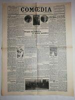 N1106 La Une Du Journal Comoedia 20 janvier 1929 propos incendiaires