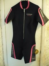 CRESSI Playa Black & Pink SHORTY Wet Suit/Dive Outfit; Beachwear-Sz L/4;Neoprene