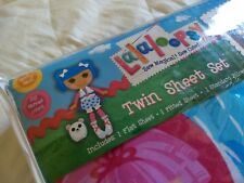NEW LaLaLoopsy Dolls Twin Sheet Set 3 Piece Cotton Rich Blue Pink Purple Sheets