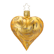 "Inge Glas ""Delights"" Gold (3.2""-8cm) Heart Glass Orn. - Made in Germany (#438)"