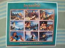 Bloc de 9 timbres non oblitérés de Pocahontas