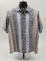Pau Hana Hawaiian Camp Shirt Size XL Palm Floral Geometric Blue Tan