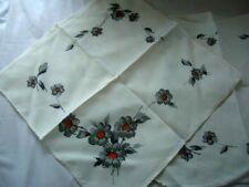Napkins Pair of 100% Cotton Dining Napkins - floral design Table Linen Cream