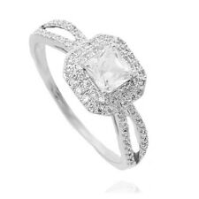 VINTAGE INSPIRED CLEAR 18K WHITE GOLD PLATED GENUINE CZ & AUSTRIAN CRYSTAL RING