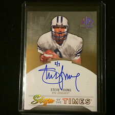 2014 STEVE YOUNG 2013 UD SP AUTHENTIC SIGN TIMES GOLD ON CARD AUTO HAND #'D /7