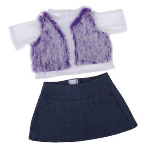18inch Girl Doll Clothing Set Purple Plush Tee Top & Skirt For AG American Doll