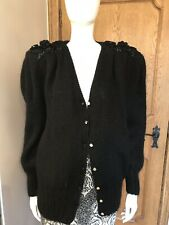 Lanvin Mohair Black Cardigan Swarovski Buttons Knitted Embroidery Vintage Sz L