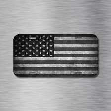 Black and White American Flag Vehicle License Plate Front Auto Tag USA United