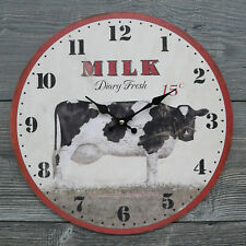 Uhr runde Wanduhr 34cm Küchenuhr Kuh Mich Bauernhof Holz MDF NEU rot weiß NEU
