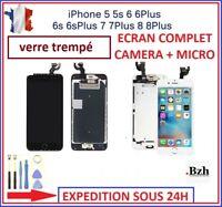 ECRAN LCD COMPLET iPHONE 5S/6/6S/PLUS 7 8 PLUS OUTILS+VERRE TREMPE NOIR BLANC