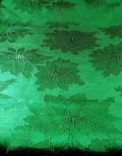 "Green Tablecloth Jacquard Poinsettia 52"" X 70"" unbranded holiday St. Pats"