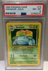1999 Pokemon Game Base Set no15 Venusaur Holo - PSA8 Near Mint / Mint