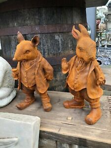 Mr Ratty and Rabbit Ornament Cast iron Statue with Rusty Finish 27 cm tall