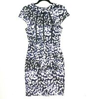 Tokito Women's Size 10 Blue Black White Sheath Bodycon Work Corporate Dress