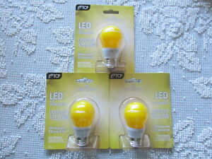 (3 Pack) New TCP 40W Equivalent LED 5 W Yellow Bug Light Bulbs, Non-Dimmable A15