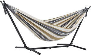 Vivere Double Cotton Hammock with Space Saving Steel Stand, Desert Moon (450 lb