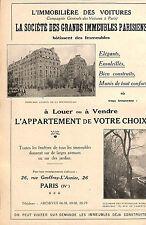 """PARIS """" L' IMMOBILIERE DES VOITURES """" AVENUE DE LA BOURDONNAIS PUBLICITE 1924"""