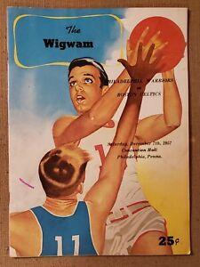 Dec 7th 1957 NBA Program Boston Celtics at Philadelphia Warriors**WIGWAM