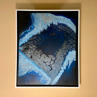 Arctic Gaze | Blue White Abstract original modern acrylic painting | ships free