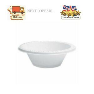 100 x WHITE PLASTIC BOWLS 12oz DISPOSABLE CATERING PARTY SUPPLIES,NEW