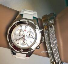 NWT MICHELE White / Silver Tahitian JELLY BEAN  WATCH MWW12F000032