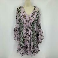 Vintage 80s Black Sheer Floral Velvet Long Sleeve Dress DVF Diane Von Furstenberg M