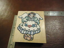 FAIRY GODMOTHER IN VINTAGE DRESS RUBBER STAMP STARS HEART WINGS YOUNG ANGEL