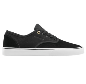 Emerica Wino Standard Black White Gold Mens Suede Skateboard Shoes