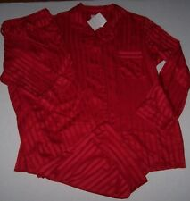 NWT Cabernet $72 CHERRY RED Striped Matte SATIN Pajama/Lounge Pant/Top Set 1X