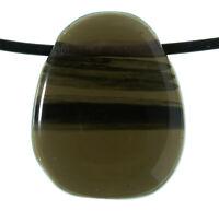 Rauch-Obsidian / Apachenträne Anhänger Trommelstein gebohrt H993