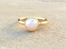 Pearl Round Gold Stackable Ring Faceted Vermeil Gold Ring Size 7