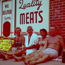 Circa 1960s Budweiser Beer Can Swim Suit QUALITY MEATS Medium Format Slide 1vv26