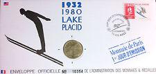 J.O. ALBERTVILLE 1992 - LAKE PLACID 1932-1980 - ENVELOPPE 1ER JOUR + MEDAILLE