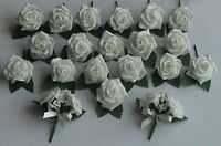 Foam Ivory Rose Flower Buttonhole Diamante Crystal Corsage Wedding Roses Package