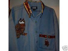 OWL DENIM SHIRT (NATIVE AMERICAN LOOK)
