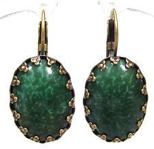 SoHo® Ohrhänger Ohrringe cabochon bohemia Glas jade oval Jugendstil dunkelgrün