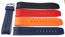 Polyurethane curved end diver rubber strap. red, blue, black, orange 20 or 22mm