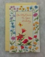 Vintage Birthday Card - Female Cousin - Flowers, Butterfly - Envelope - Gallant