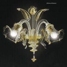Applique in Vetro di Murano -1005/AP2 Cristallo Oro - Montatura Oro 24k