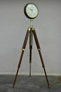 "Grandfather antique style 58"" floor clock vintage industrial tripod watch gift"